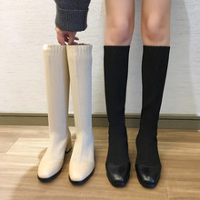 Women Fall Boots 2019 New Over The Knee Boots Women Fashion Sock Boots Slip On Sexy Boots Ladies Elegant Beige Black Boots(China)