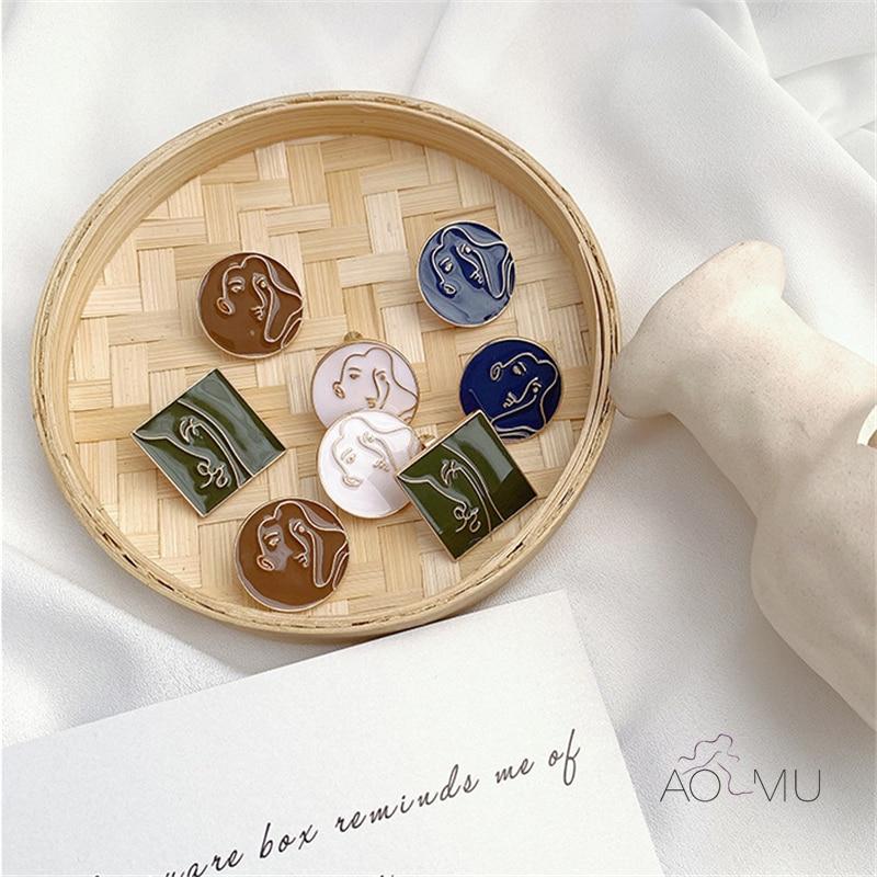 AOMU New Geometric Round Square Morandi Line Abstract Human Face Enamel Stud Earrings For Women Retro Colorful Enamel Jewelry