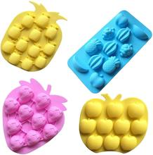 4-piece fruit series silicone cake fondant mold  chocolate mold for  cake decoration candy mold cake mat ice cube ice box 12 cavity pineapple strawberry fruit silicone cake mold chocolate fondant mould cookie cupcake decoration ice 3d mold tool brush