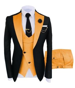 New Costume Slim Fit Men Suits Slim Fit Business Suits Groom Black Tuxedos for Formal Wedding Suits Jacket Pant Vest 3 Pieces 15