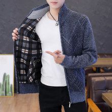 Chaqueta de punto con cremallera para hombre, ropa de estilo coreano a la moda, suéter delgado para hombre, cárdigans de punto de manga larga, tallas grandes 2020