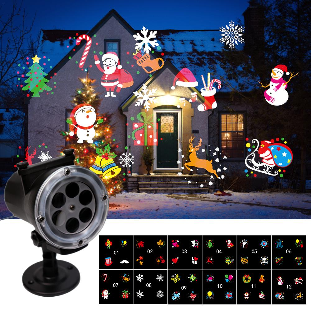 12 Patterns Christmas Snowflake Laser Projection LED Projector Light New Year Waterproof Remote Control Garden Lawn Lamp