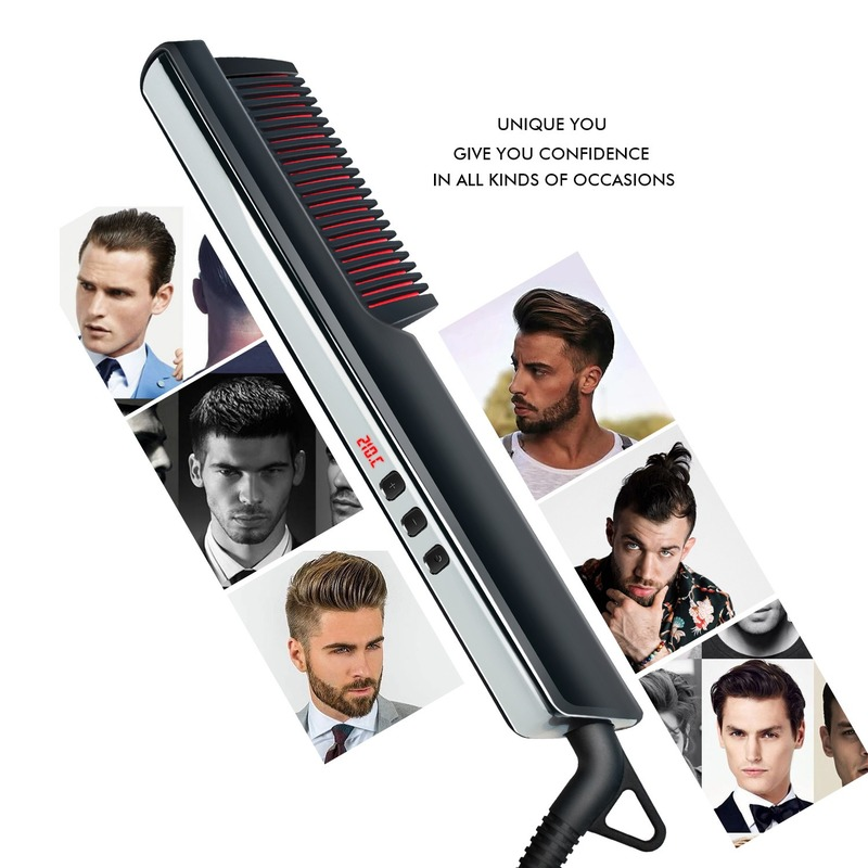 2020 New LCD Straight Hair Comb Men's And Women's Hair Straightener Beard Comb Ceramic Roll Hair Straightener Hairstyle Comb