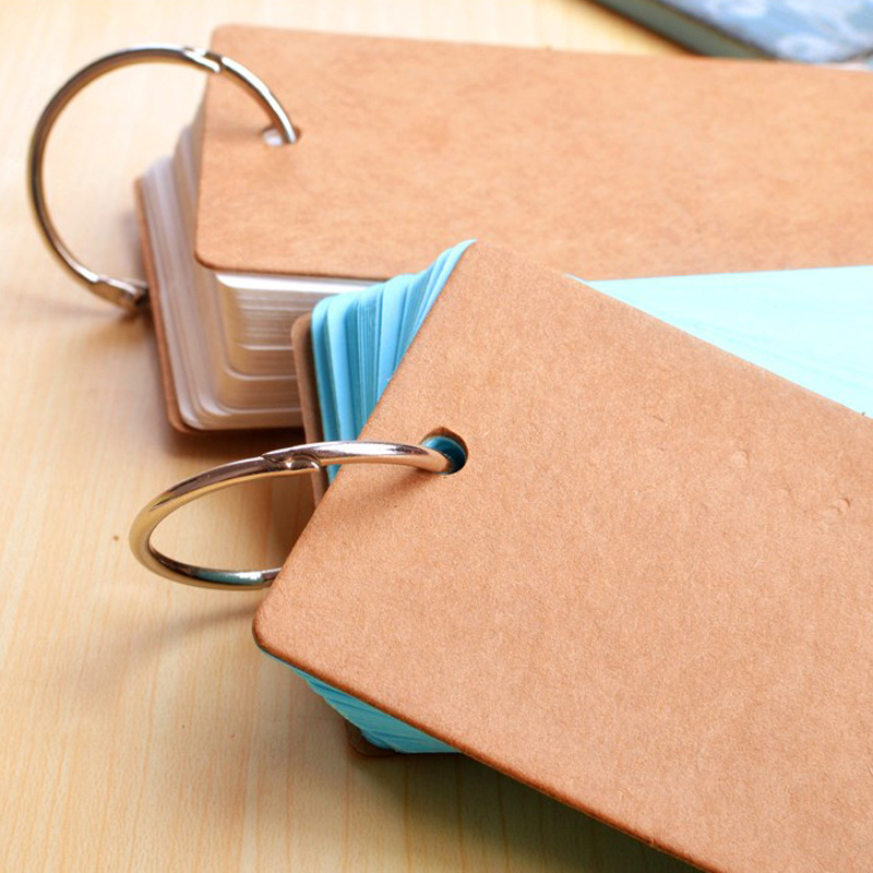 Portable Buckle Binder Notes Flash Cards Memo Pads DIY Blank Card Stationery PR Sale