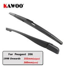 Coche KAWOO limpiaparabrisas trasero hojas de ventana trasera limpiaparabrisas brazo para Peugeot 206 Hatchback (a partir de 1998) 355mm Auto parabrisas hoja