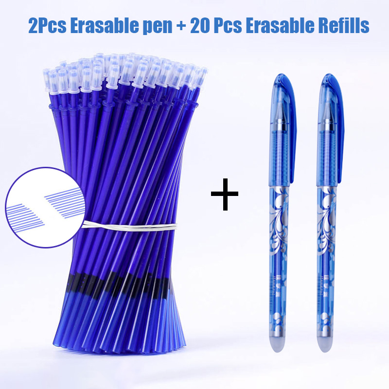 2+20Pcs/Set Blue Black Ink Erasable Pen 0.5mm Ballpoint Pens Refills For Kids Writing Gifts School Office Supplies Stationery