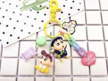 Cute Japanese Anime Crayon Shin-chan Shinnosuke Nohara Doll Keychain for Bag Charms Car Keyring Gift Women Girl Jewelry 2019 fashion dog car keychain animal couple lovely keychain car keyring gift for girl women and men jewelry anime keychain