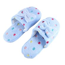 OUTAD 2018 Winter Home Slippers Women Warm Cotton Bow Stone Fabric Slippers For Women Indoor Mute Non-slip Flap Floor Shoes diji girls soft coral velvet floor home indoor slippers quiet cotton fluffy slippers for women comfortable shoes black