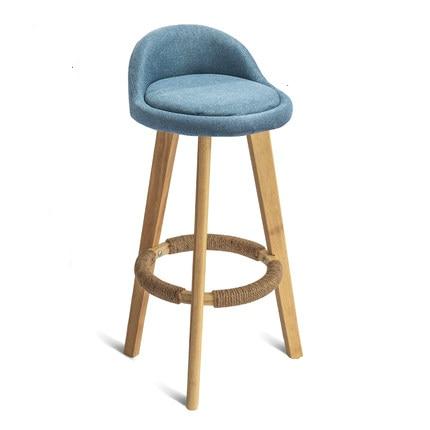 Solid Wood Bar Chair Simple High Stool Home Recliner Bar Stool Bar Chair Tea Shop Front Desk Chair