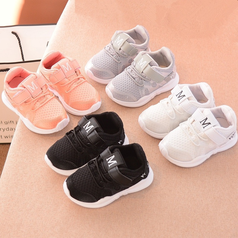 Baby Boys Girls Shoes For Kids Fashionable Net Breathable Pink Leisure Sports Running Shoes For Girls White Shoes