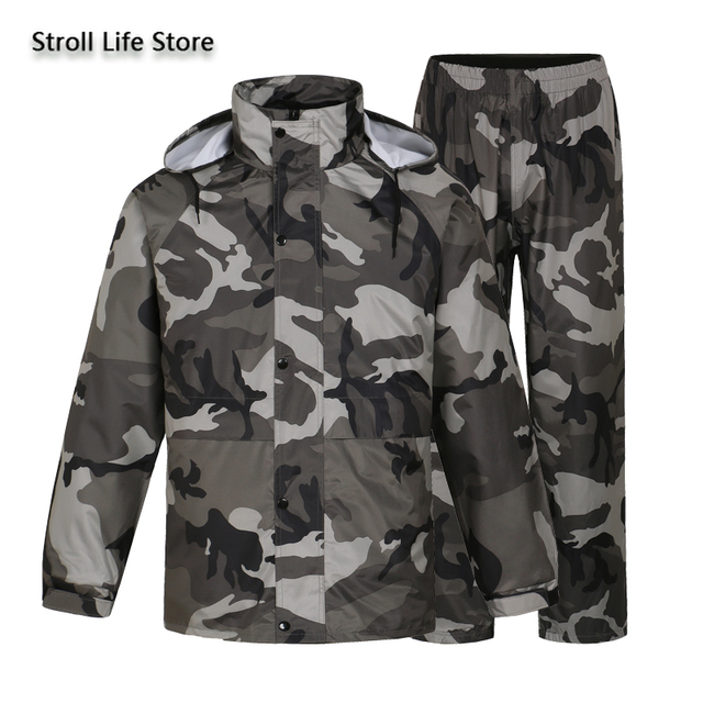 Camouflage Adults Motorcycle Raincoat Men Waterproof Suit for Fishing Male Waterproof Suit for Fishing Hiking Capa De Chuva Gift 3