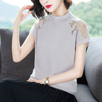 2019 New Summer Women Mesh T Shirt Batwing Sleeve O Neck lace knitted patchwork Tops Tees Female chic solid hollow out T Shirt