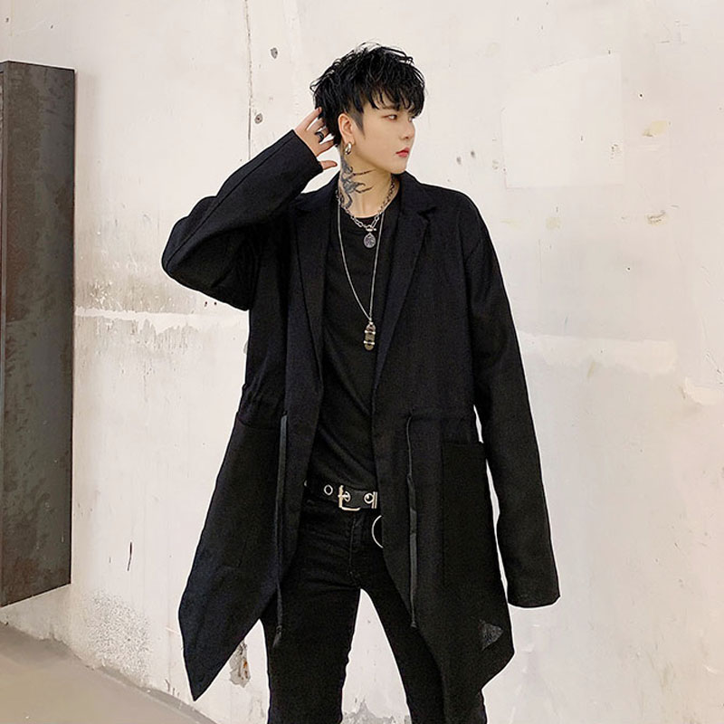 Men Drawstring Loose Black Cotton Linen Casual   Trench   Coat Male Vintage Streetwear Hip Hop Gothic Windbreaker Jacket Outerwear
