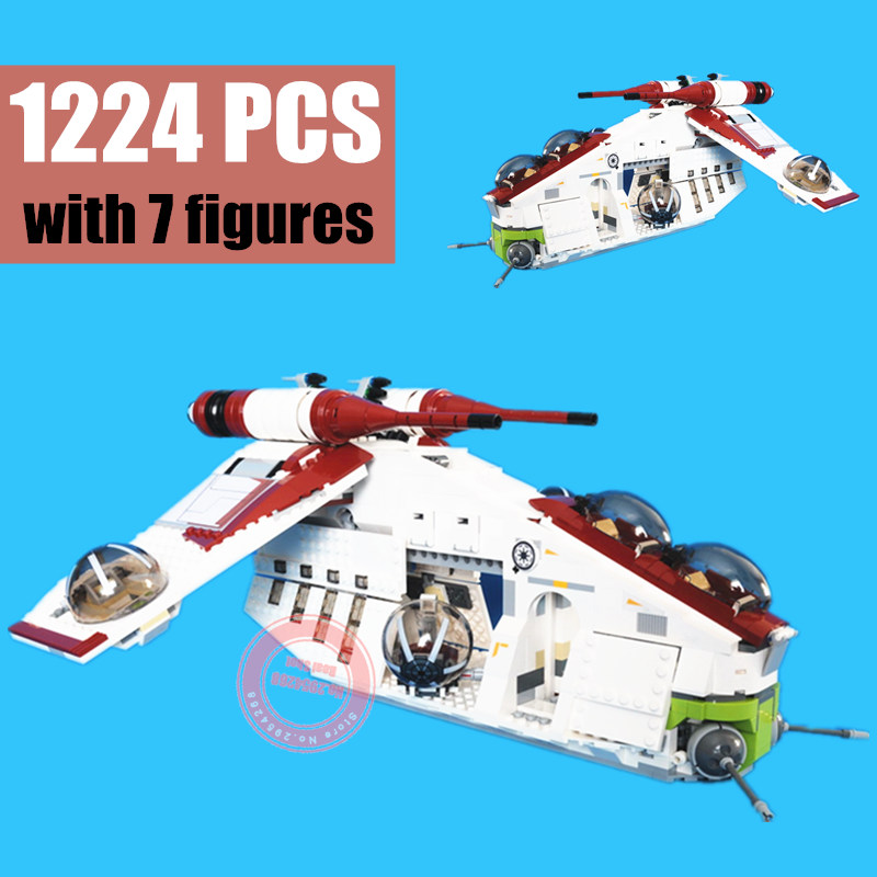 NEW The The Republic Gunship Set fit lepinings <font><b>star</b></font> <font><b>wars</b></font> figures model Building Blocks Bricks diy Toy 75021 gift kid boys image