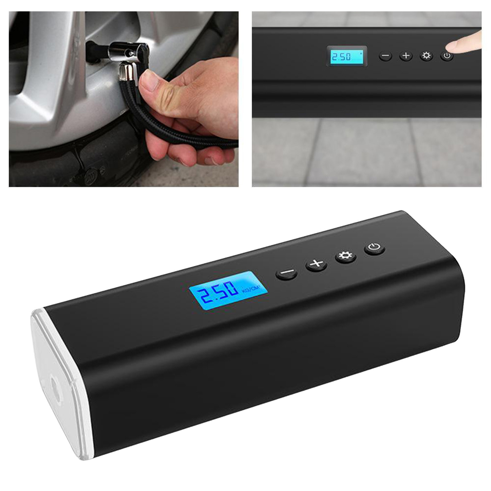150PSI Air Pump Portable Electric Air Compressor Tire Inflator Smart Car Rechargeable Tire Pump 50W USB Cordless Emergency Light