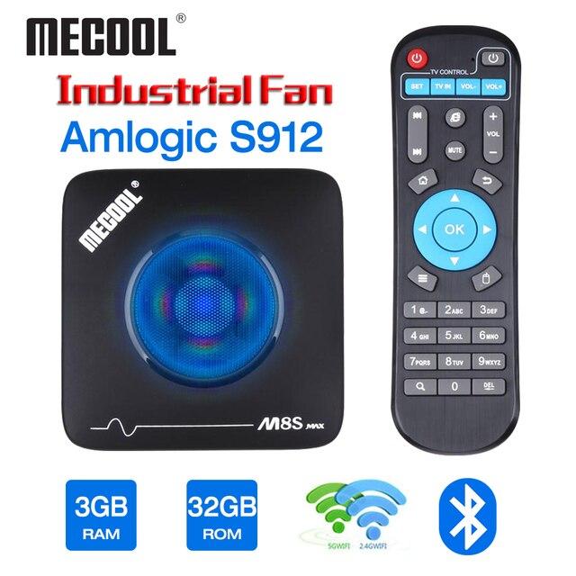 Mecool 3GB 32GB تي في بوكس أندرويد الذكية TVbox Amlogic S912 2.4G 5G واي فاي بلوتوث مروحة مجموعة صندوق فوقي 4K تدفق M8S ماكس مشغل الوسائط