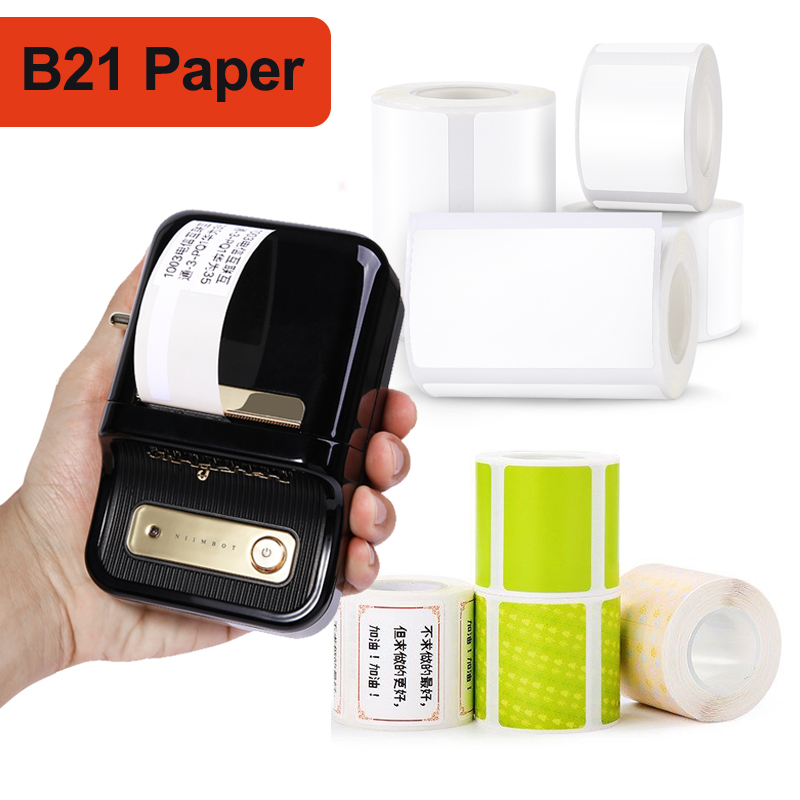 Niimbot B21 multiple sizes blank white transparent thermal label sticker waterproof oil resistant for barcode price tag