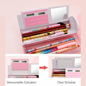 Drijfzand Doorschijnende Creative Multifunctionele Cilindrische Pencil Box Case 2019 School Kantoorbenodigdheden Roze Blauw Rekenmachine NBX