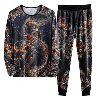 2019 Autumn Spring Chinese Dragon Tracksuits Mens Sport Set Hoodie Pants Sportswear Men Brand Sporting Suit Track Print Clothes 1