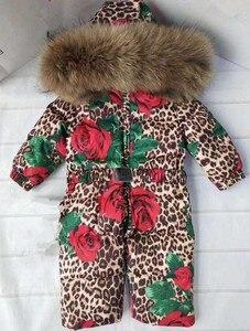 Image 3 - Bas combinaison pour enfants à capuche vêtements de neige plus épais chaud vêtements dextérieur véritable col de fourrure imprimé léopard enfants hiver doudoune Y1704