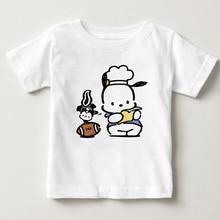 купить Boys and Girls 2-15 Years Old Children T-shirt S-3XL Pochacco Dog Cartoon Printing Boys and Girls Summer Short Sleeve T-shirt MJ дешево