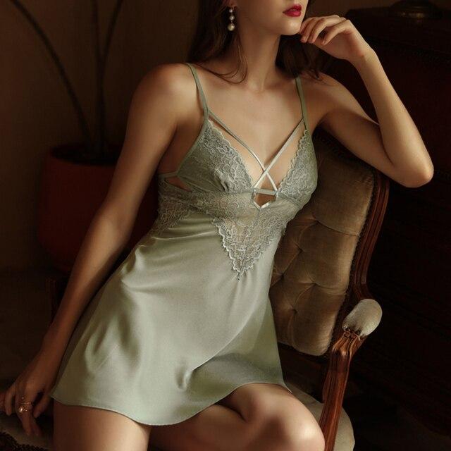 CINOON New Women Sexy Lace Nightwear Set Thin Silk Sling Sleepwear V-neck Cross Trim Nightdress And Panty Satin Soft Homewear