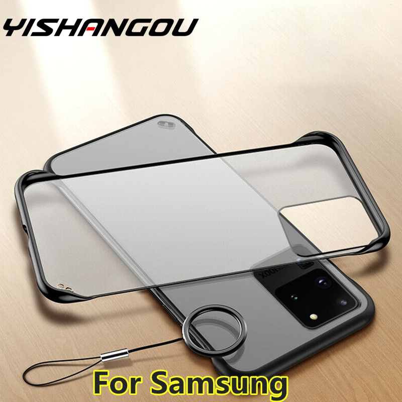 Frameless clear Matte Hard Phone Case For Samsung S20 A51 A71 A81 S8 S9 S10 Note 8 9 10 A50 A70 A10 A20 A30 A40 With Finger Ring