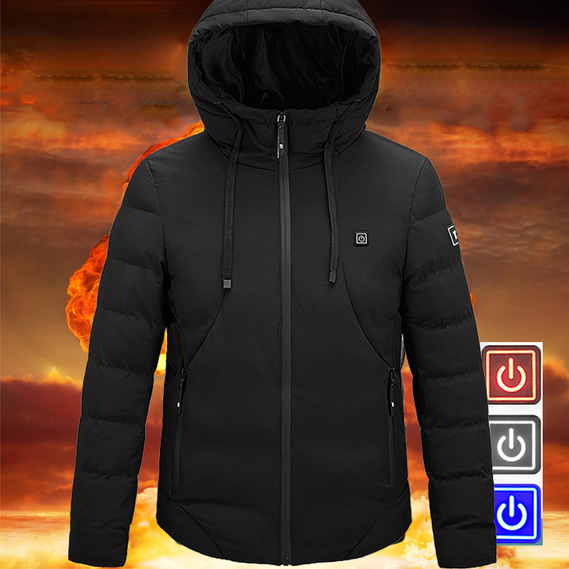 2019 New Men Winter Outdoor USB Infrared Heating Hooded Jacket Unisex Winter Hiking Jackets For Men Women Skiing Clothes M-6XL