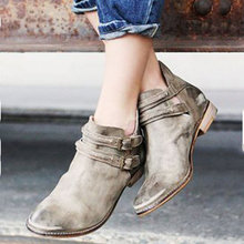 Ankle boots for women low heels casual buckle strap round toe pu leather shoes woman sping autumn new plus size booties  c01