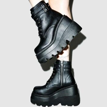 Marka projekt 2020 duże rozmiary 43 platformy wysokie obcasy Cosplay modne jesień zima kliny buty botki kobiety tanie i dobre opinie GIGIFOX Klinowe Buty motocyklowe Mikrofibra CN (pochodzenie) ANKLE Punk Platforma Stałe Boots woman women s boots Adult