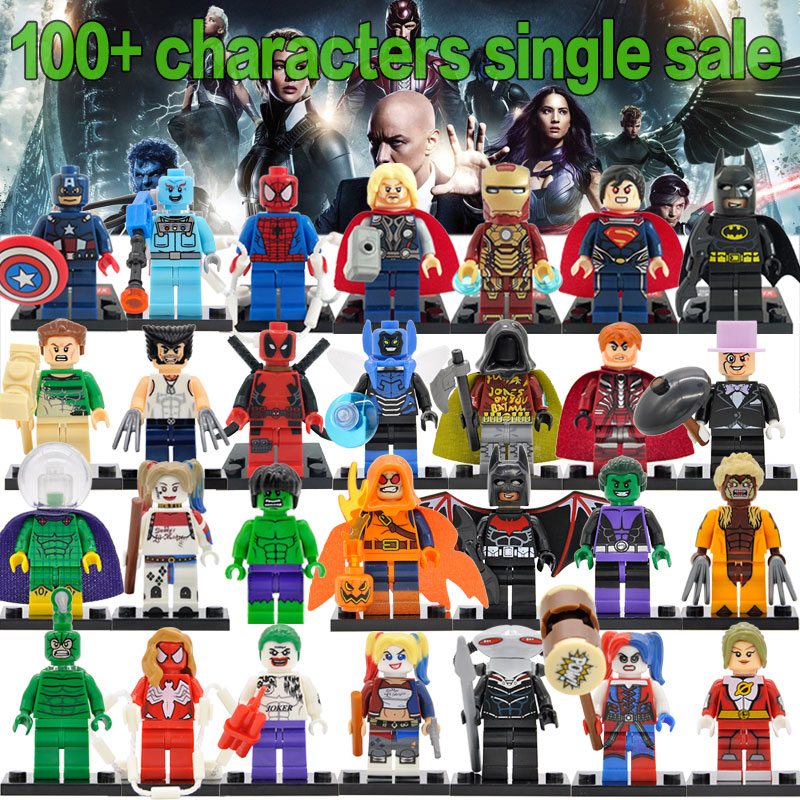 Single Hot Super Heroes Figure Marvel DC Avengers Deadpool Starfire Batman Superman Iron Man Building Blocks Toys Legoing