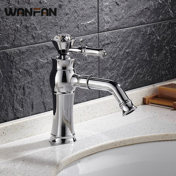 Basin Faucets Modern Chrome  Deck Mounted Bathroom Mixer Faucets Chrome  Finish With Diamond High Bathroom Sink Faucet 9090