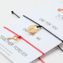 gold lock key bracelet/Heart/Bracelet for Women Men Couple Bracelet Chain Stainless steel Heart Bracelet charm bracelet 2pcs