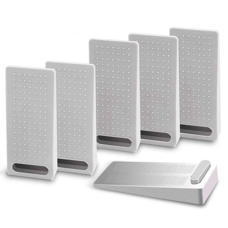 6 PCS Door Wedge Rubber, Door Stopper, Heavy Duty Slip-resistant and Stackable Door Holders, Adjustable Height and Strong Grip o