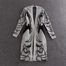 2019 Fashion Autumn Winter Casual Cotton Cardigan Coat Women Oversize Long Abstract pattern Bat Sleeve Knitted Sweater
