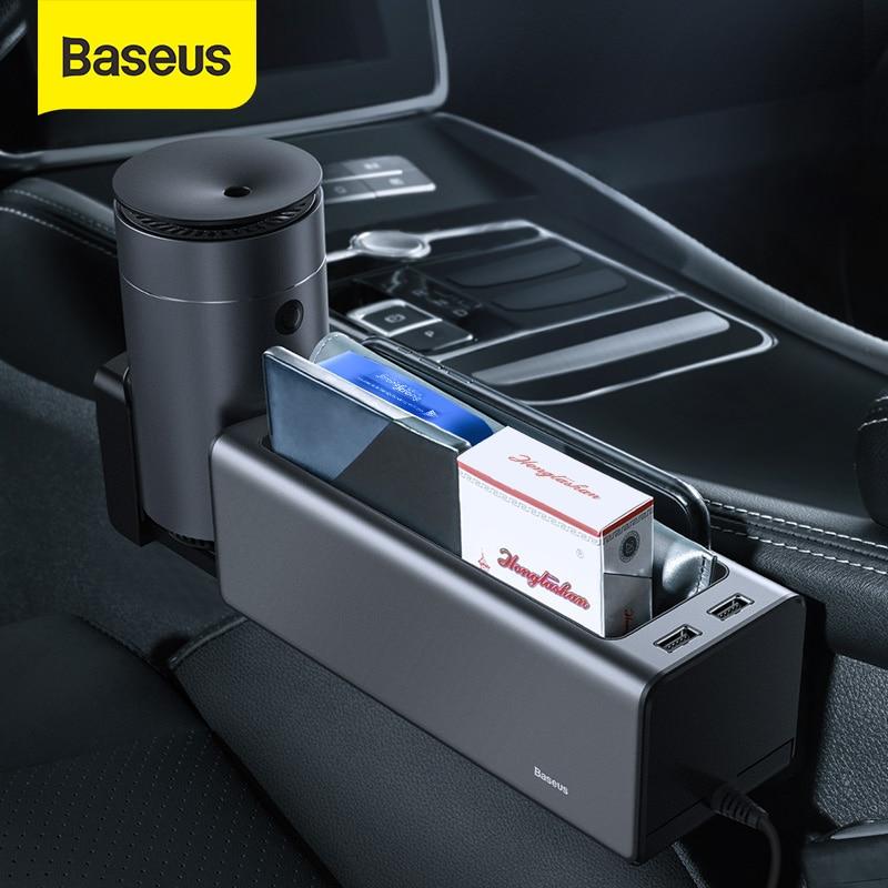 Baseus-organizador de Metal para hueco de asiento de coche compartimento de almacenamiento para asiento automático, bolsillo para billetera, llaves y monedas, tarjetero, soporte para teléfono con puertos USB duales