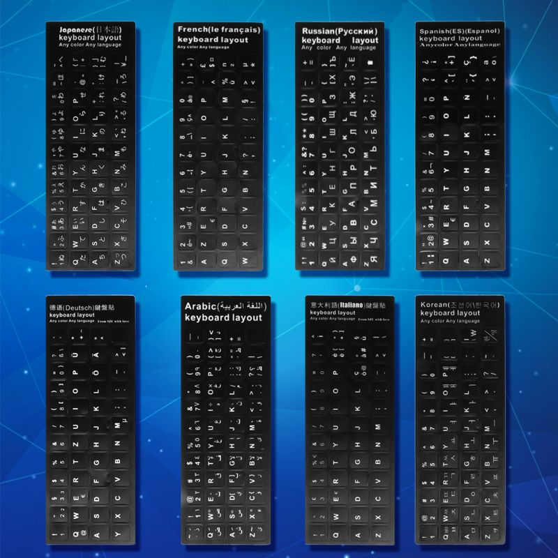 Durable Russian/French/Spanish/Japanese/German/Arabic/Korean/Italian Keyboard Language Sticker Black Background with White for-1