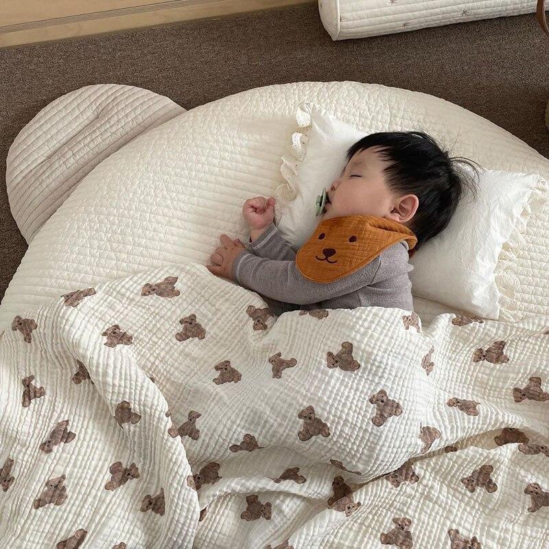 1075.0¥ 40% OFF MILANCEL 2021 Autumn New Baby Blankets Bear Print Cotton Blanket Casual Sleeping Bl...