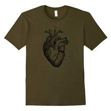 2019 nueva manga corta Casual Big Texas Vintage corazón anatomía diagrama Camiseta Hombre camiseta buena calidad