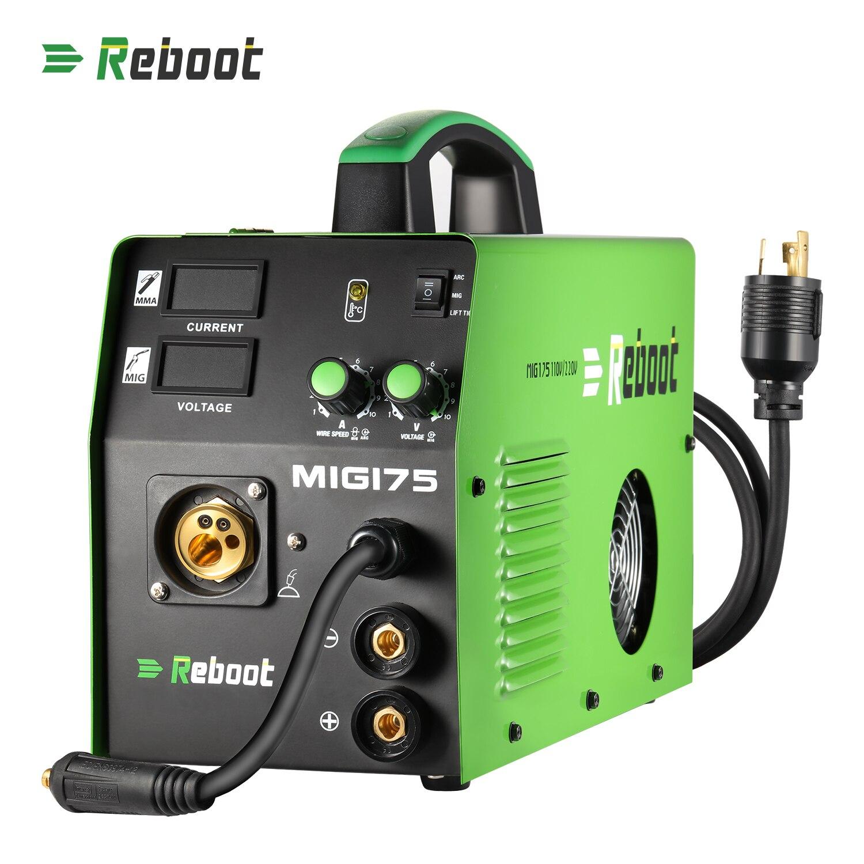 Redémarrez MMA MAG MIG soudeur MIG-175 fil de noyau de Flux et fil solide IGBT onduleur Machine à souder prise Euro gaz/sans gaz 5KG