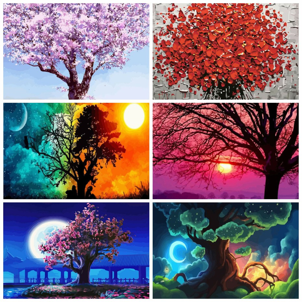 Azqsd Paints By Numbers Tree Pictures Oil Drawing By Numbers For Adults Home Decor Full Set Scenery Coloring By Numbers 50x40cm Paint By Number Aliexpress