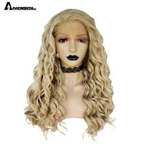 Image 1 - Anogol loira peruca dianteira do laço sintético afro longa parte livre peruca da onda do corpo para as mulheres peruca de fibra resistente ao calor