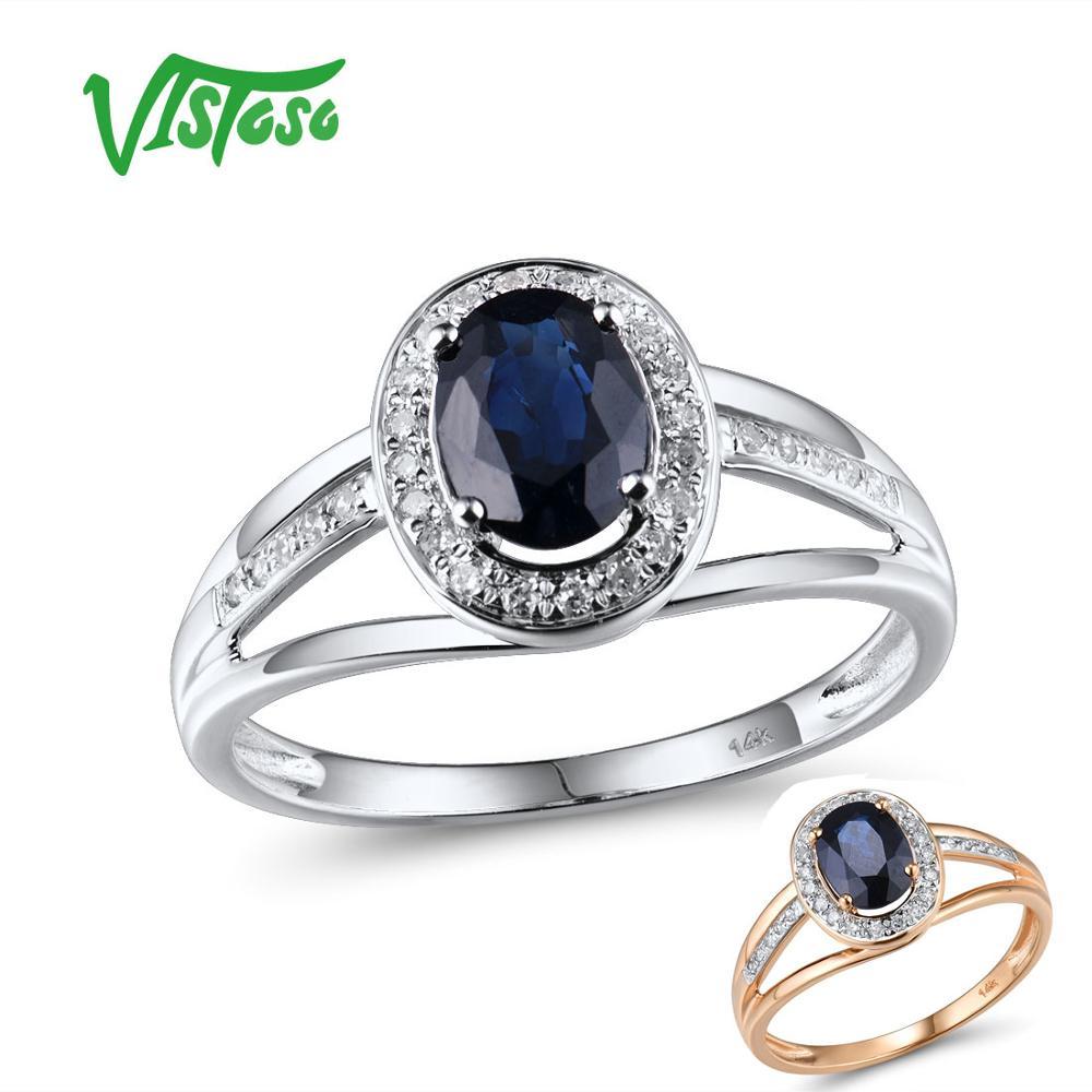 VISTOSO 14K White Gold Rings For Women Genuine Sparkling Diamond Fancy Blue Sapphire Engagement Anniversary Unique Fine Jewelry