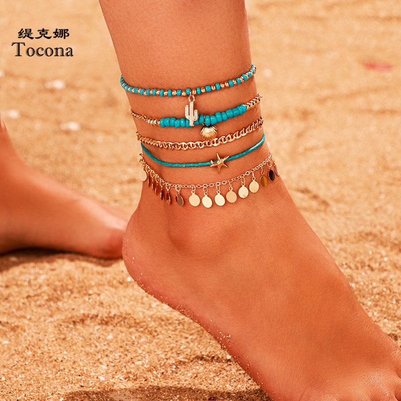 Tocona 5pcs/sets Boho Bead Anklets for Women Summer Starfish Scallop Shell Gold Chain Tassel Anklets Bohemian Jewelry 8817