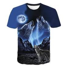 T shirt Homens verão Em Torno Do Pescoço Streetwear Manga Curta Tees Tops Animais Engraçados Roupas Masculinas Casual Lobo 3D Impressão Tshirt