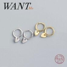 WANTME Real 925 Sterling Silver Minimalist Love Heart Tassel Stud Earrings for Fashion Women Teen Girls Party Jewelry Gift