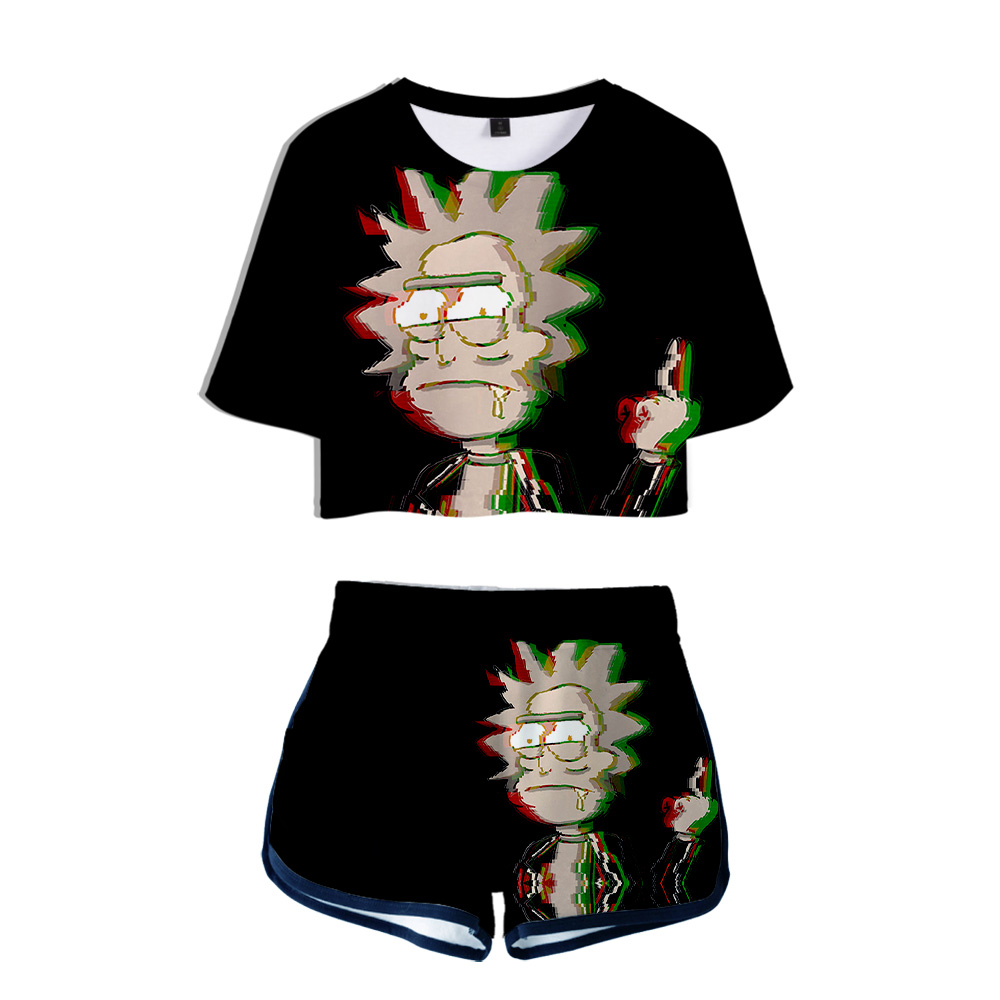 Rick And Morty Season 4 Ladies Two-piece Fashion Shorts Suit  Women's Fashion Polyester Summer Casual Cool 2 Piece Set Women