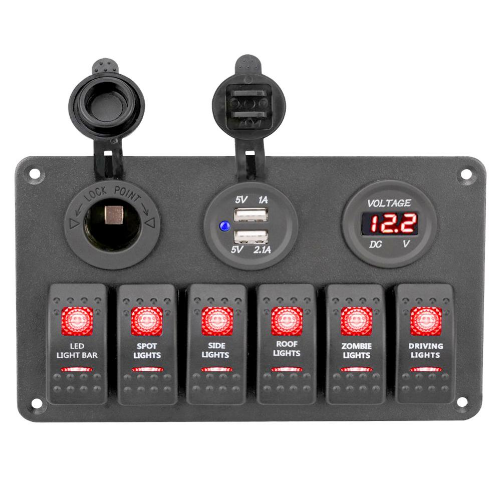 Waterproof Car Boat Switch Panel 12~24 V + USB Charging Port +LED Rocker Control Switch Panel Circuit Breaker Digital Voltmeter