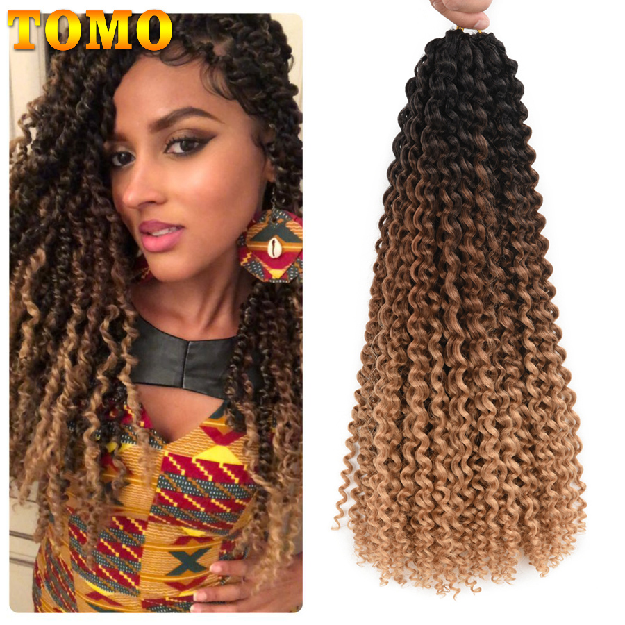 TOMO 18Inch 22Strands Passion Twist Crochet Hair Spring Twist Synthetic Braiding Hair Extensions 80g/Pack Long Black Brown