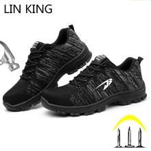 LIN KING Big Size 48 Breathable Men Safety Shoes Steel Toe Puncture Proof Boots Lace Up Anti Piercing Outdoor Climbing Sneakers дутики king boots king boots mp002xw0zwfn